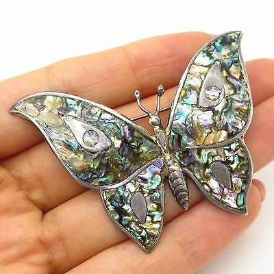 Vtg Mexico Gerardo Lopez 925 Sterling Silver Abalone Butterfly Design Pin Brooch
