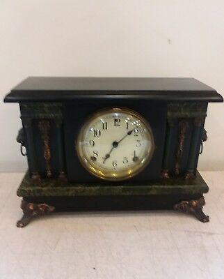 Antique Sessions Wood Mantle Clock For Repair