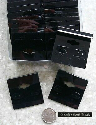 100 Black velvet earring display cards for post or clip on earrings hanging rail