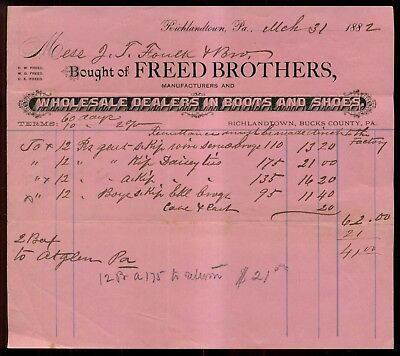 1882 Richlandtown,PA - Freed Brothers Boots and Shoes Invoice