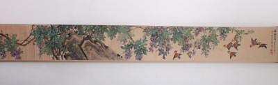 Wang Geyi Signed Old Chinese Hand Painted Calligraphy Scroll Sparrow