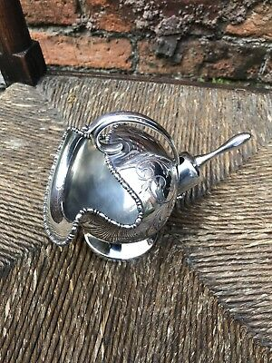 Beautiful Silver Plated Chased Sugar Scuttle And Spoon