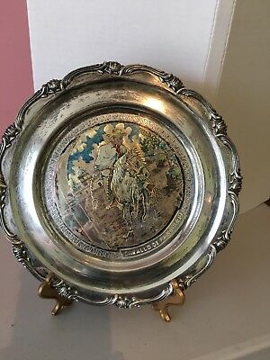 "Silver 925 Wallhanging/ Plate11"" ""Horse of Paso Peru"" Picture 13 0z. Scrap?"