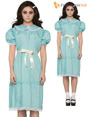 Ladies The Shining Twin Sister Costume Adult Creepy Halloween Fancy Dress Outfit