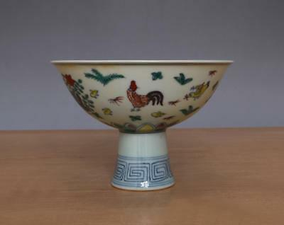 Chenghua Signed Antique Chinese Famille Rose High Stem Bowl With Cock