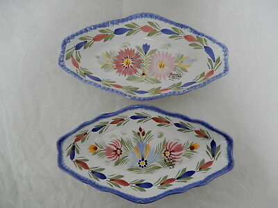 HB HENRIOT QUIMPER France Lot of Two POTTERY RELISH DISH New Signed/Stamped