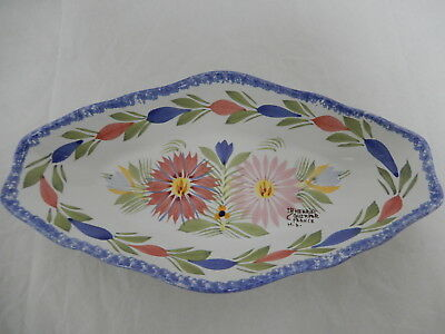 HB HENRIOT QUIMPER France POTTERY RELISH DISH New Signed/Stamped
