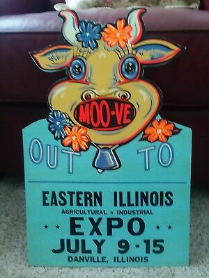 1960's agricultural expo diecut cardboard easelback sign with cartoon cow