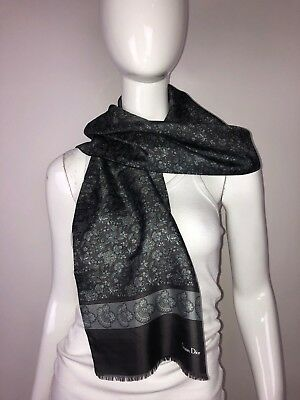 Christian Dior Monsieur Men's Gray Black 100% Silk & Wool Paisley Floral Scarf