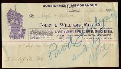 """1898 Foley & Williams Mfg. Co. """"Bicycles,Sewing Machines,Buggies"""" Invoice"""