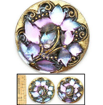 GLOWING 27mm Vintage Czech Glass LILAC BLUE AB Lace IVY Leaf Flower Buttons 2pc