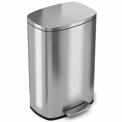 iTouchless SoftStep 13.2 Gallon Stainless Steel Step Trash Can, 50 Liter Pedal