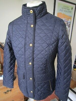 BNWT WOMEN'S JOULES 'NEWDALE' QUILTED JACKET  uk 12  M  navy corduroy trim coat