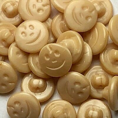 24 Brown Happy Face Vintage Czech Glass Buttons