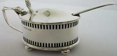 Antique Sterling Silver Mustard Pot + Blue Liner & Silver Spoon HM 1912