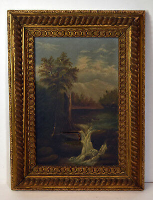 """11"""" Antique Oil Painting on Canvas Landscape w/ Waterfall Mountains Forest"""