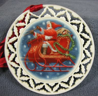 Santa's Ride Lenox Christmas Ornament Santa's Portraits Collection 1990 Boxed