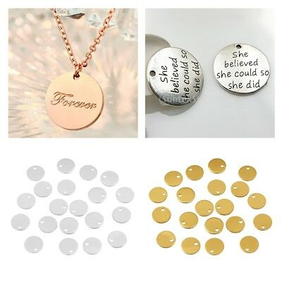40pcs Gold Silver Tone 8mm Metal Blanks Stamping Blank Crafting Tags 8mm Dia