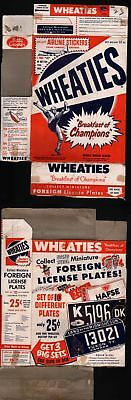 1953 1954 Wheaties Box Football Player and Foreign License Plates