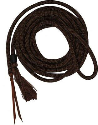 Showman BROWN 23' Round Nylon Braided Mecate Reins with Leather Ends! HORSE TACK