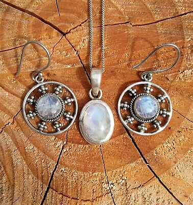 Vintage 925 Stirling Silver Moonstone Necklace And Earrings Set