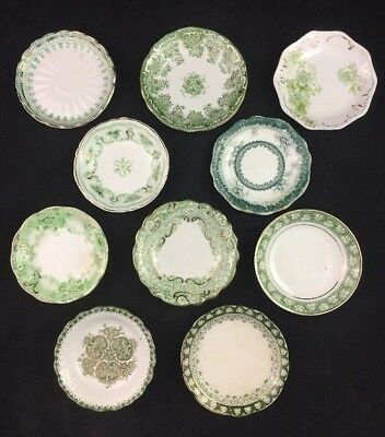 Set of 10 Green Transferware Antique English Miniature Plates BUTTER PATS