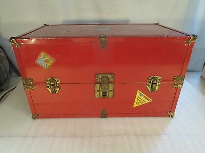 Vintage Red Metal Toy Doll Steamer Trunk W/Travel Stickers & Drawer Inside