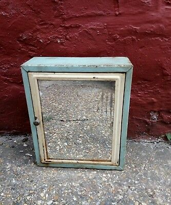 Vintage Enamel Mirrored Medical Cabinet. Industrial. Patina. Salvage. Reclaimed