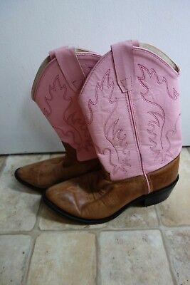 Girl's size 6 Old West pink cowgirl boots pointed toe leather upper guc