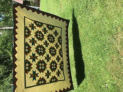 old Hand quilted quilt estate find size 66x86 cotton multi  colors