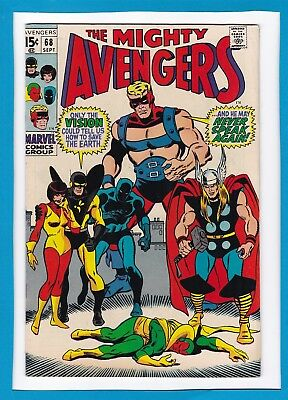 """Avengers #68_September 1969_Very Fine_Ultron_""""the Vision...silenced""""_Silver Age!"""