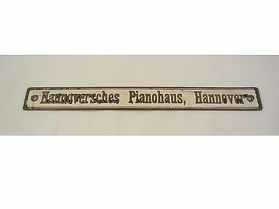 Hannoversches Pianohaus, Hannover MESSING METALL SCHILD PIANO KLAVIER ANTIK ALT