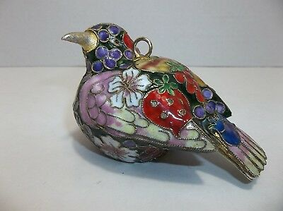 Vintage Chinese CLOISONNE Enamel BIRD Ornament