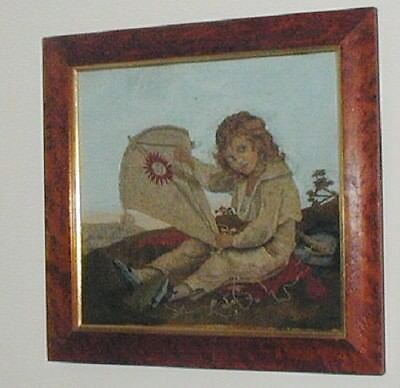Victorian Wool work Picture Boy With Kite Period Dress Maple Frame