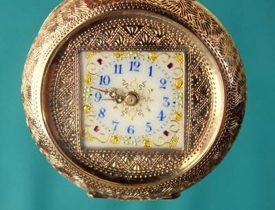 Highly Unusual Square Dial Antique 9ct 9k Solid Gold Pocket / Fob Watch - c.1900