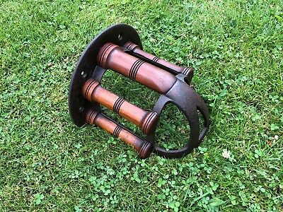 RARE ANTIQUE MUSGRAVES BELFAST STABLE HORSE BRIDLE TACK RACK  curved
