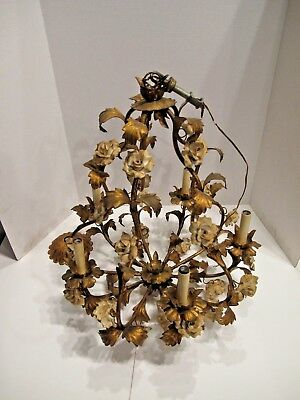 Vintage 5  Light Chandelier With Roses And Leafs Bronze