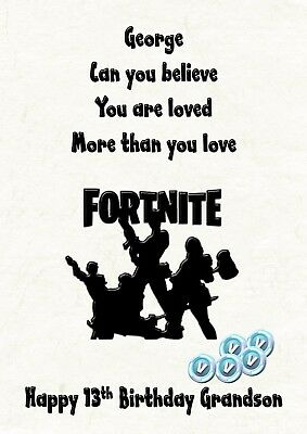 birthday card personalised daughter son grandson nephew brother fortnite sister