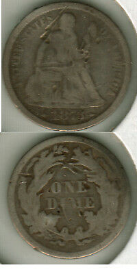 1873 S  With Arrows Seated Liberty Dime