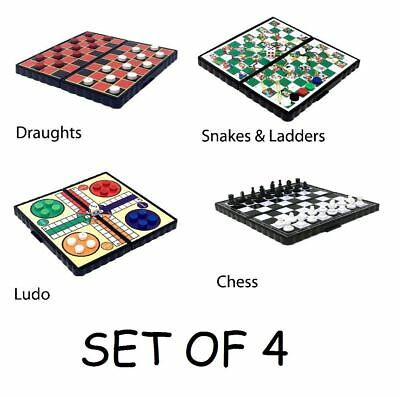 Magnetic Travel Board Games Set of 4 Ludo Chess Draughts Snakes and Ladders Game