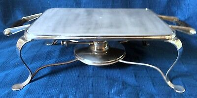 Edwardian Silver Plate Warmiing Tray Stand, With Silver Plate Spirit Burner
