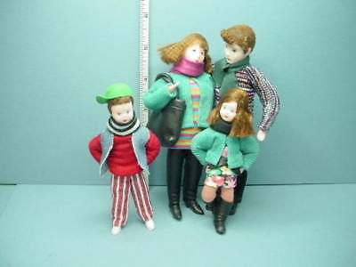 Miniature Family of Four #10978 Dollhouse. Dolls, Handcrafted Erna Meyer