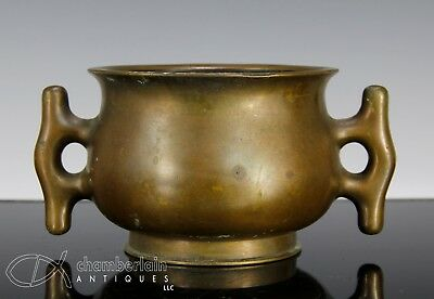 Old Chinese Bronze Handled Censer With Mark