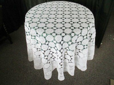 "Round Tablecloth All Hand Crochet - 70"" Dia. - White"