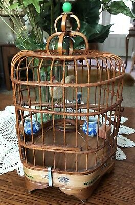 Vintage ASIAN Bamboo Wood Decorative BIRD CAGE w/ Blue & White Porcelain Feeders