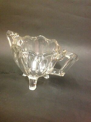 Vintage glass sugar bowl with two handles Bon Bon dish preserve