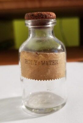 """Vintage 2.5"""" Portable Glass Holy Water Bottle with Stopper"""