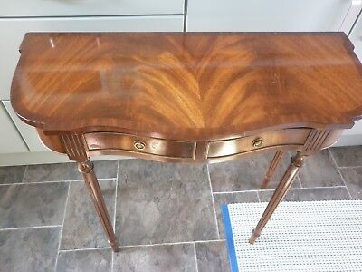 Reprodux Bevan Funnell Flame Mahogany Serpentine Console Hall Table 2 Drawers