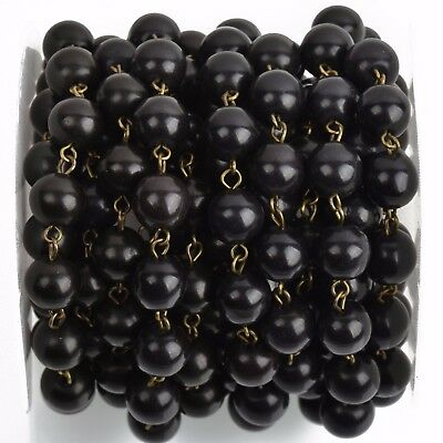 3ft BLACK Howlite Rosary Bead Chain, bronze, 10mm round stone fch0757a