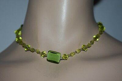 USA PAT 4074400  Green and Clear Beaded Necklace pat. 2007 Marked